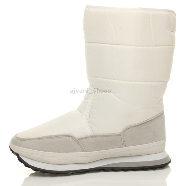 WOMENS-LADIES-FLAT-SNOW-WINTER-SKI-FASHION-FUR-LINED-ANKLE-CALF-BOOTS-SIZE