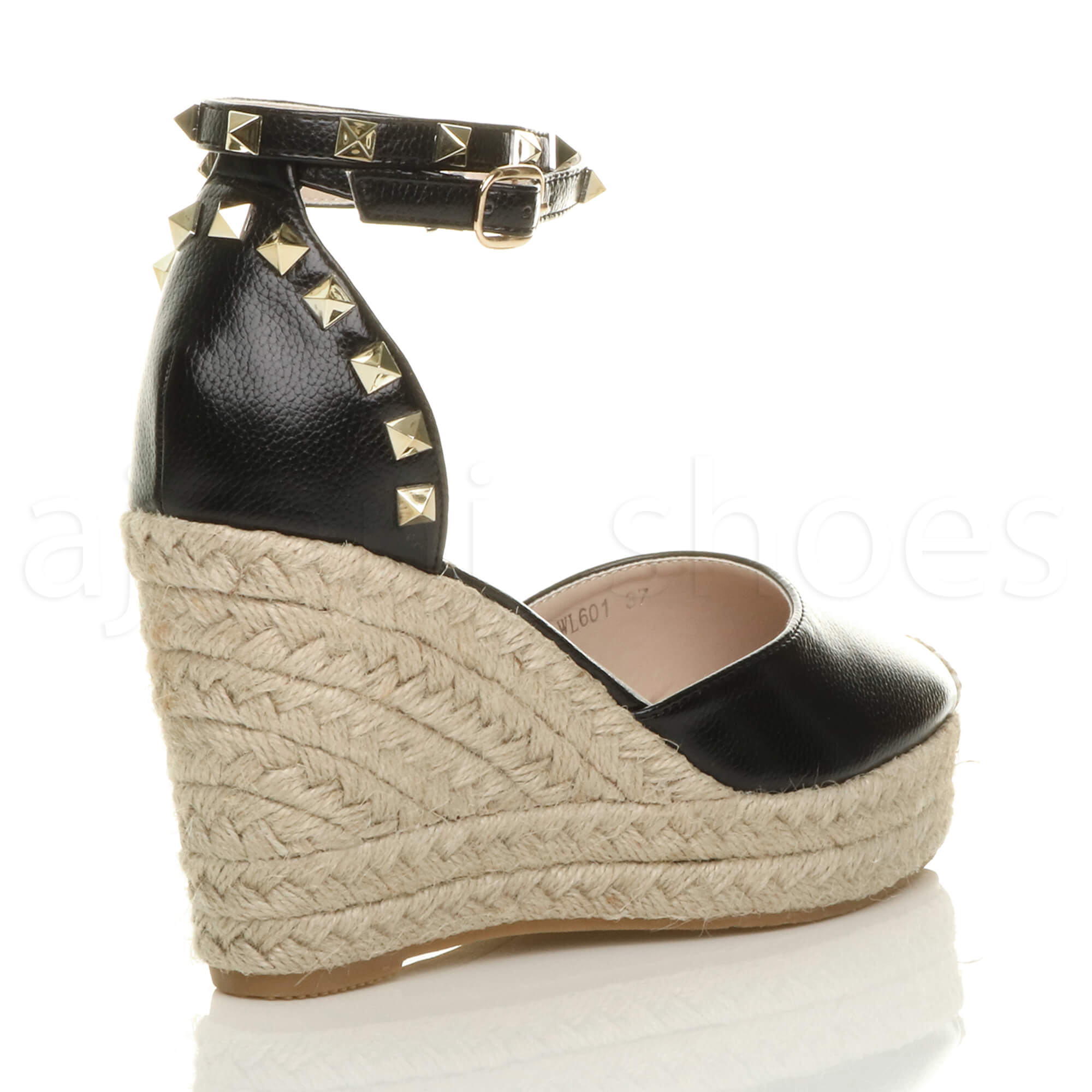 WOMENS LADIES HIGH WEDGE HEEL STUDDED ANKLE STRAP ...