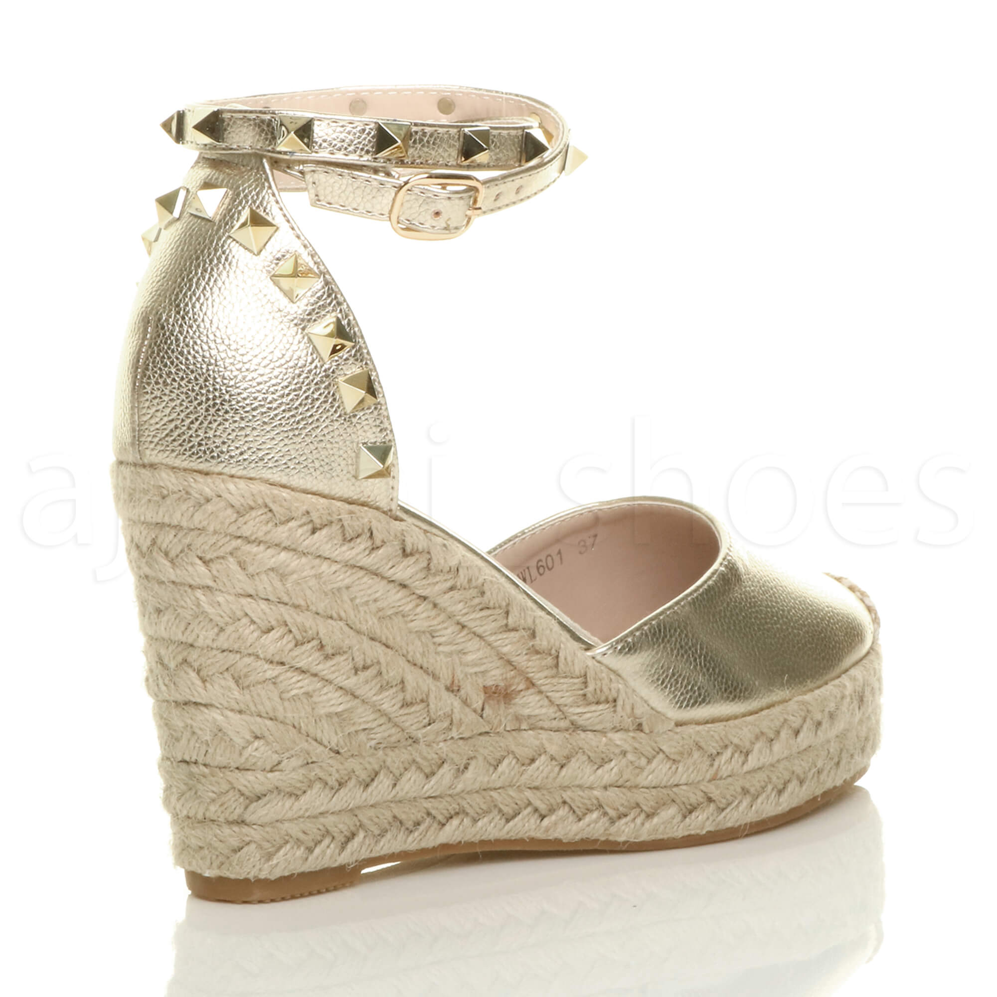 398d9df4725 Details about WOMENS LADIES HIGH WEDGE HEEL STUDDED ANKLE STRAP ESPADRILLES  SHOES SANDALS SIZE