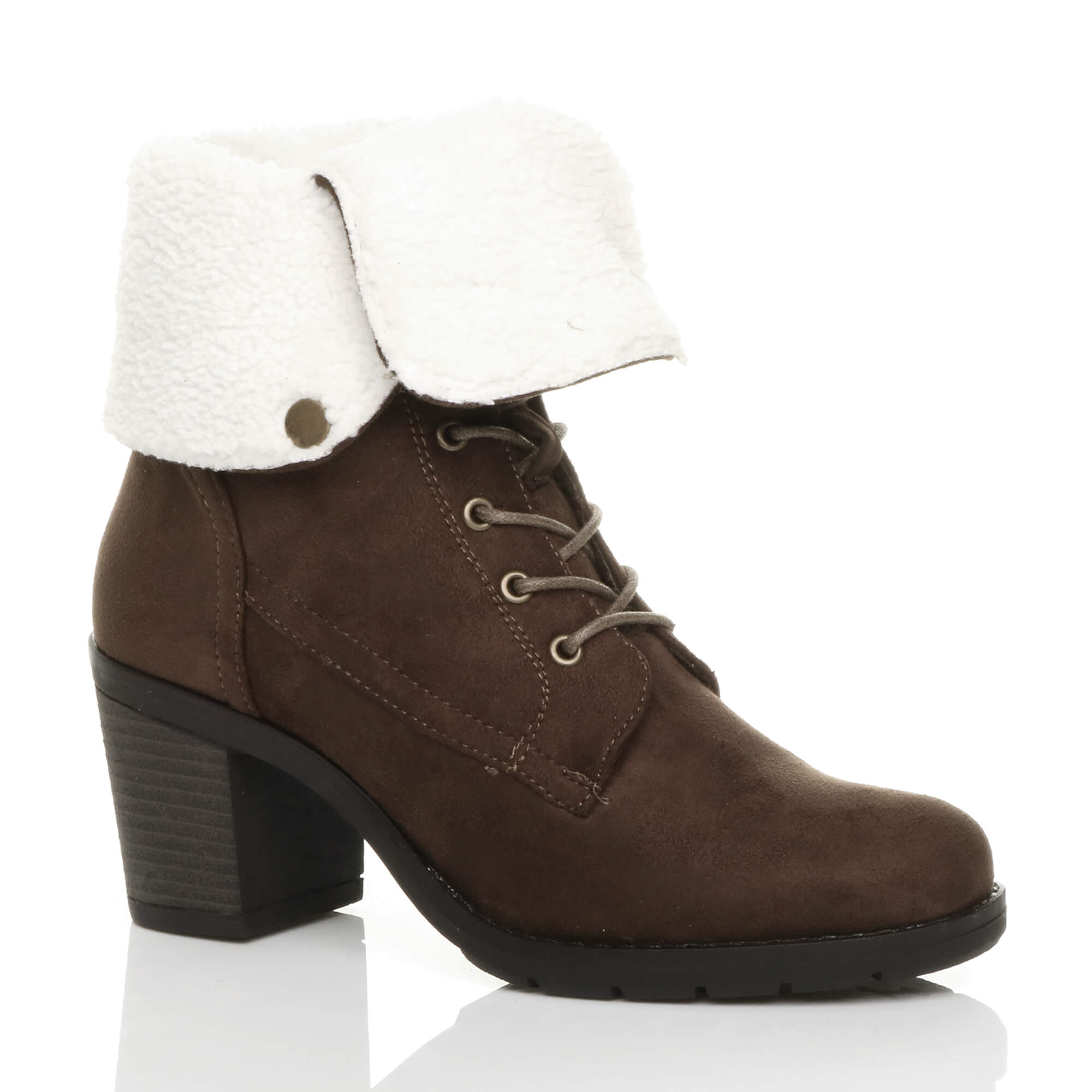 WOMENS-LADIES-MID-BLOCK-HEEL-FUR-COLLAR-LINED-LACE-UP-WINTER-ANKLE-BOOTS-SIZE