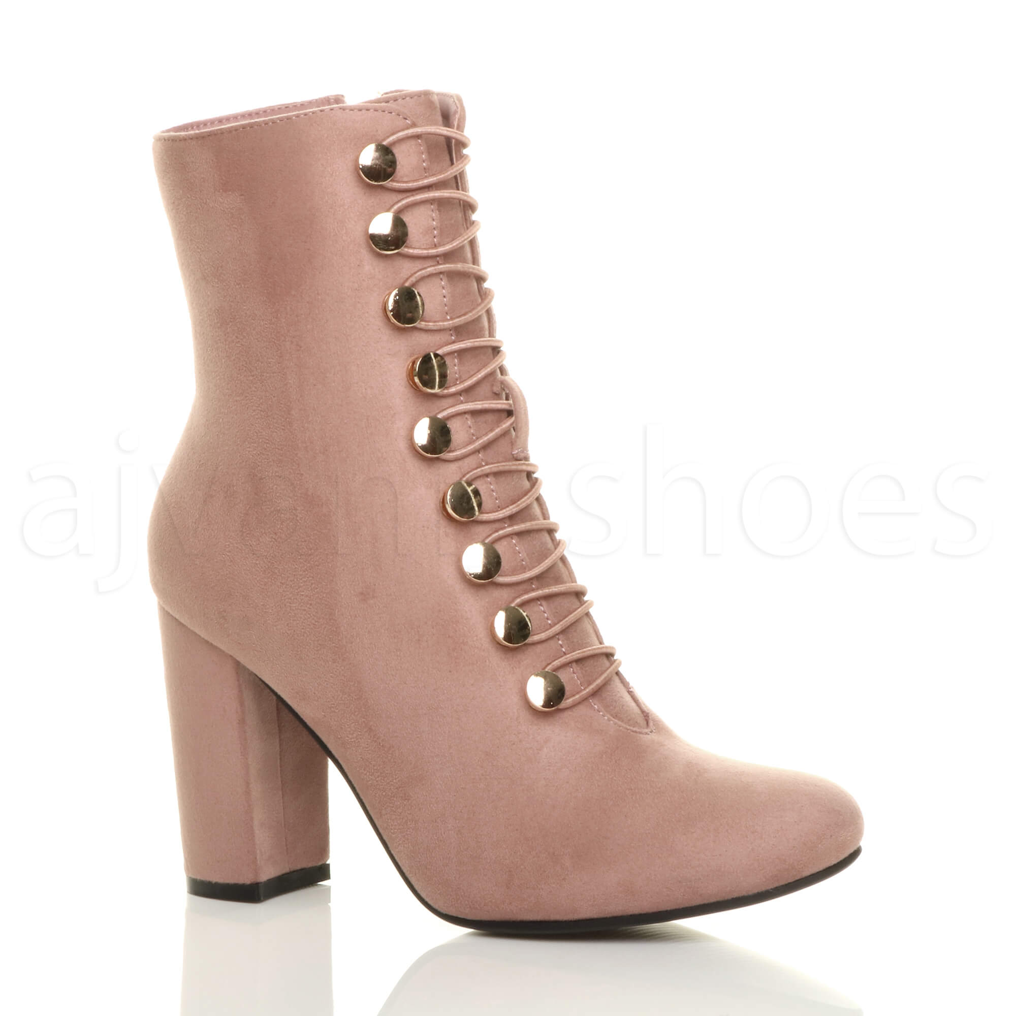WOMENS-LADIES-HIGH-BLOCK-HEEL-ELASTIC-GOLD-BUTTON-ZIP-MILITARY-ANKLE-BOOTS-SIZE