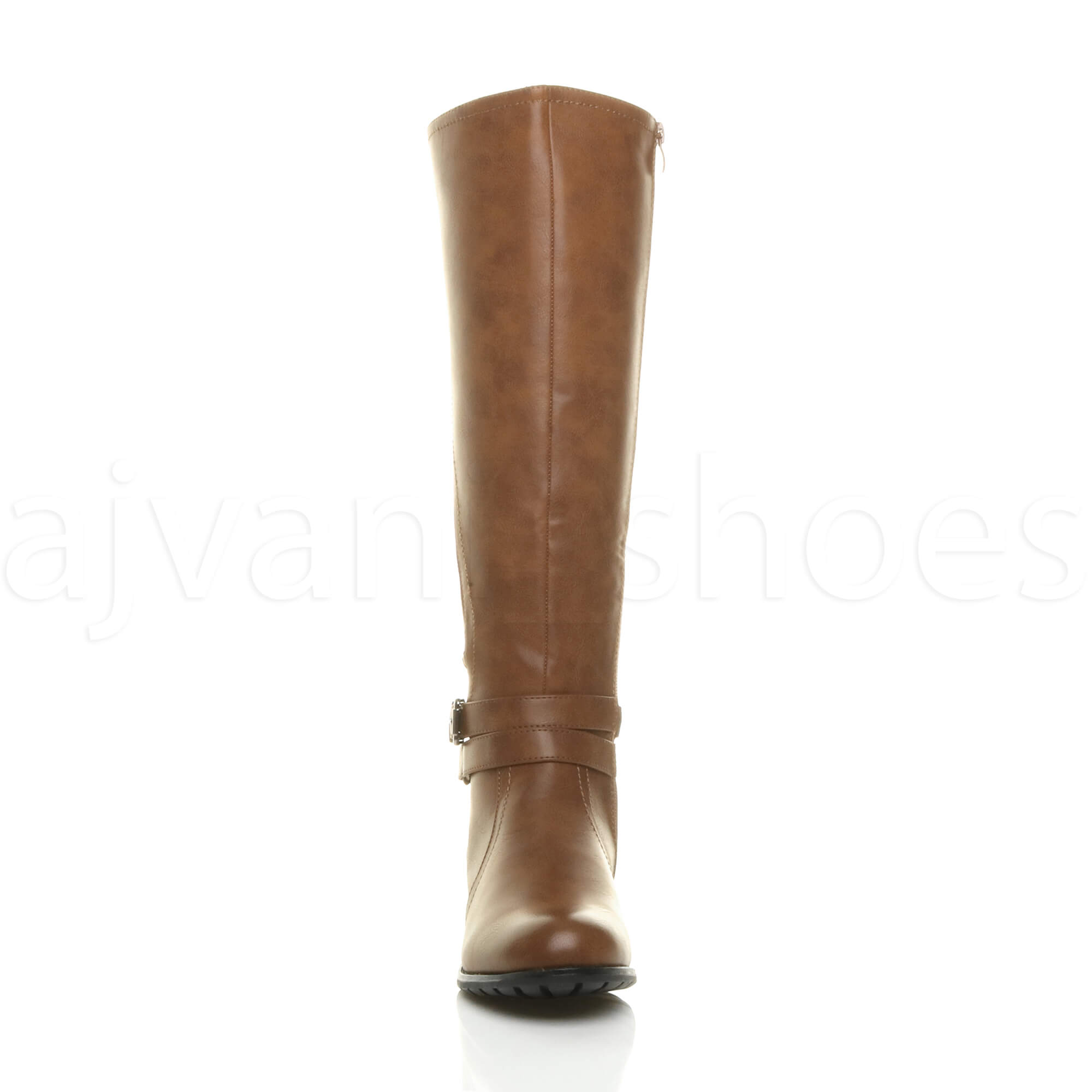 WOMENS-LADIES-LOW-HEEL-STRAP-ZIP-STRETCH-ELASTIC-KNEE-HIGH-RIDING-BOOTS-SIZE