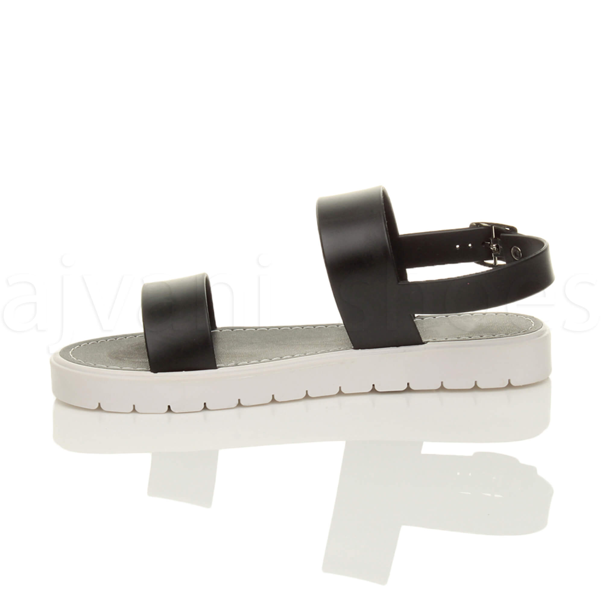 WOMENS-LADIES-FLAT-STRAPPY-BUCKLE-SLINGBACK-CLEATED-RUBBER-SUMMER-SANDALS-SIZE thumbnail 4