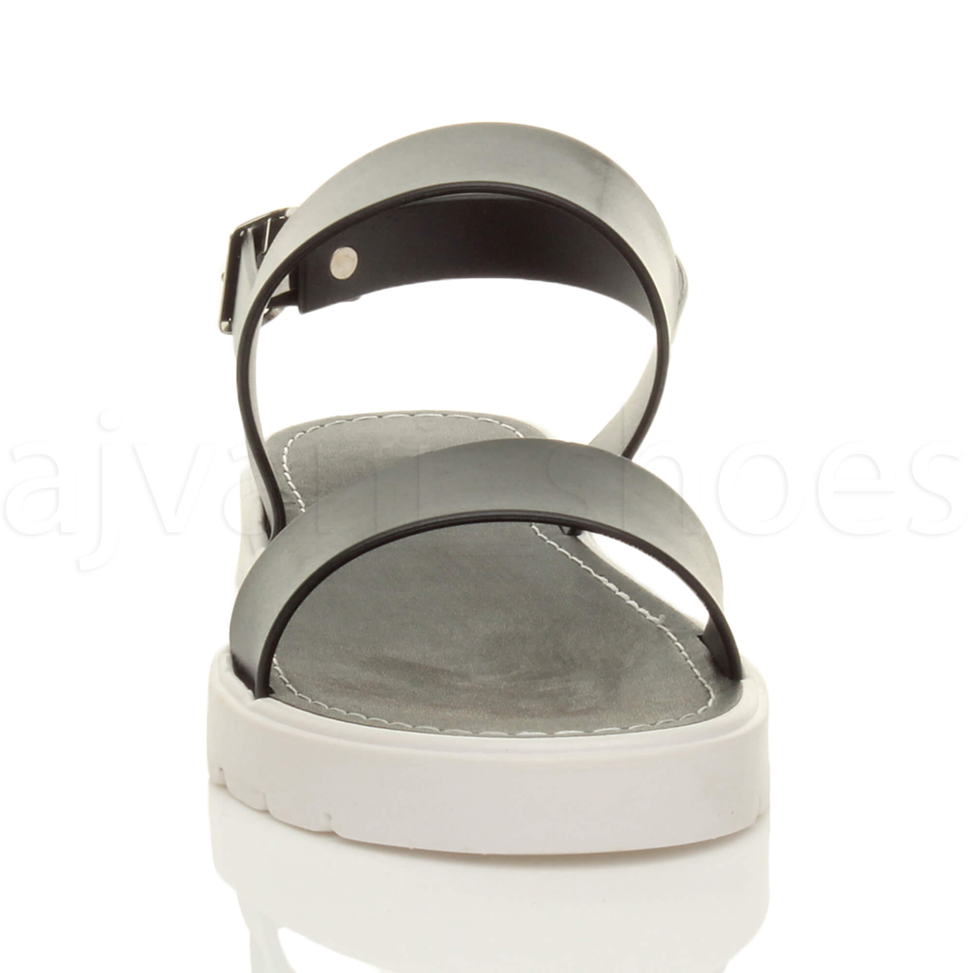 WOMENS-LADIES-FLAT-STRAPPY-BUCKLE-SLINGBACK-CLEATED-RUBBER-SUMMER-SANDALS-SIZE thumbnail 6