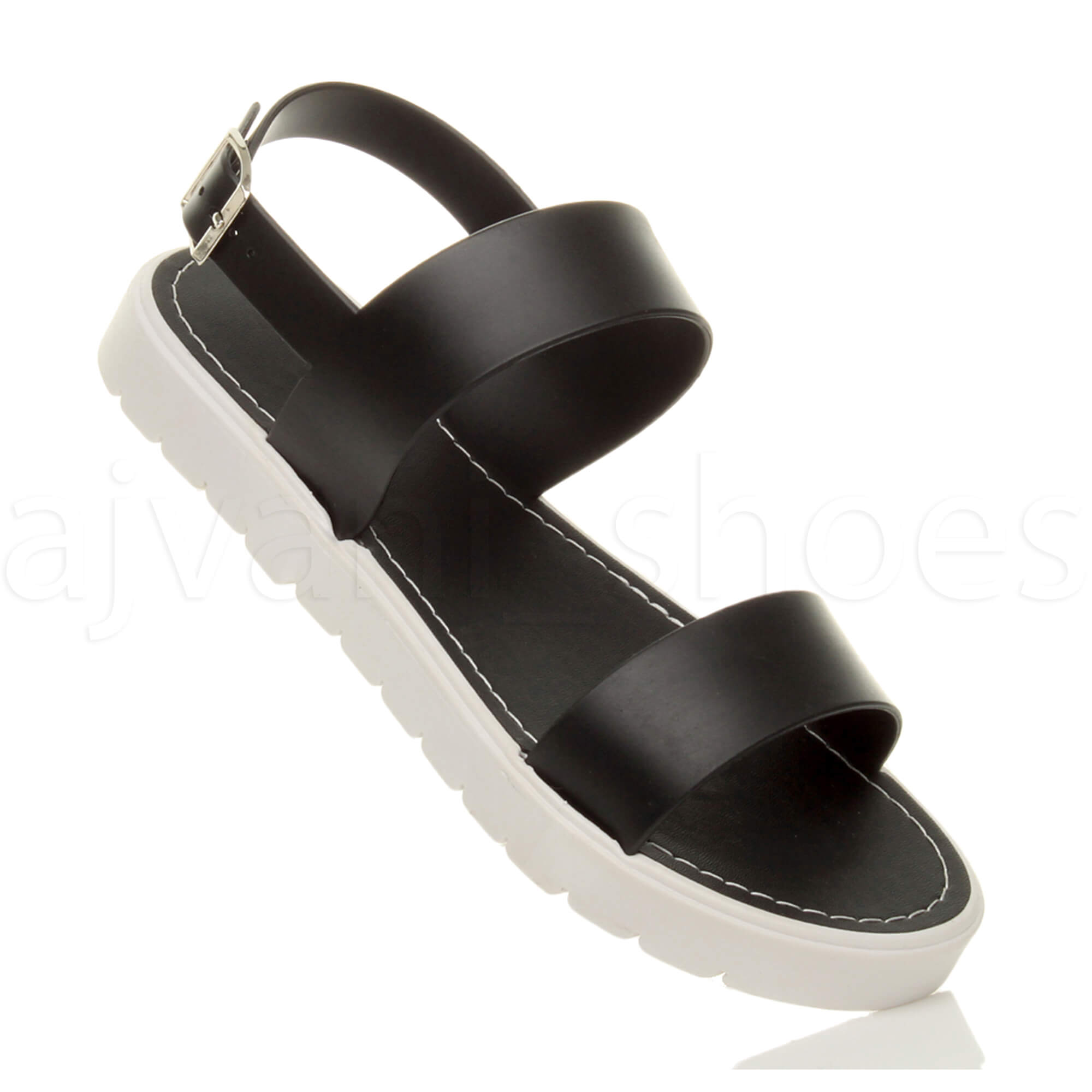WOMENS-LADIES-FLAT-STRAPPY-BUCKLE-SLINGBACK-CLEATED-RUBBER-SUMMER-SANDALS-SIZE thumbnail 7