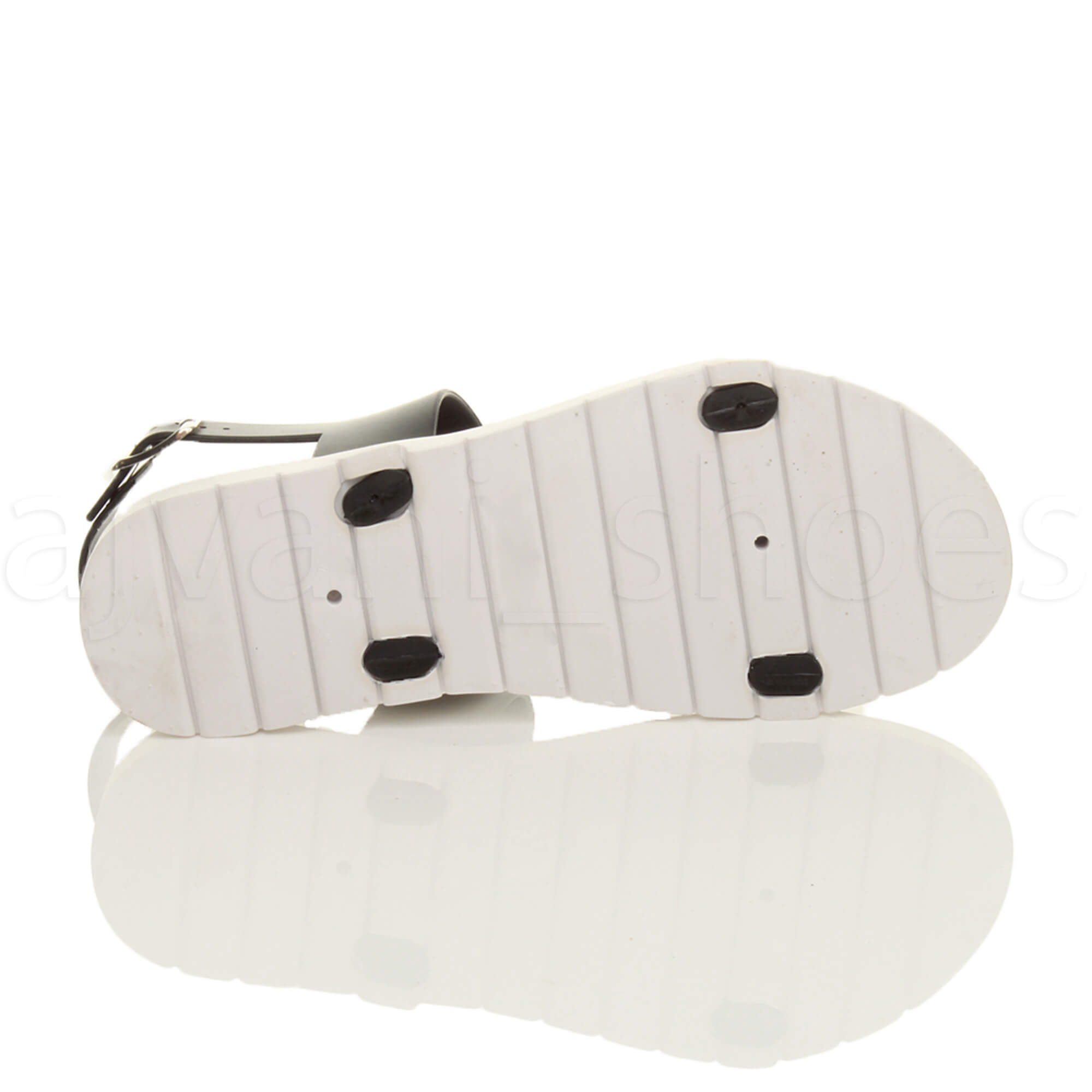 WOMENS-LADIES-FLAT-STRAPPY-BUCKLE-SLINGBACK-CLEATED-RUBBER-SUMMER-SANDALS-SIZE thumbnail 8