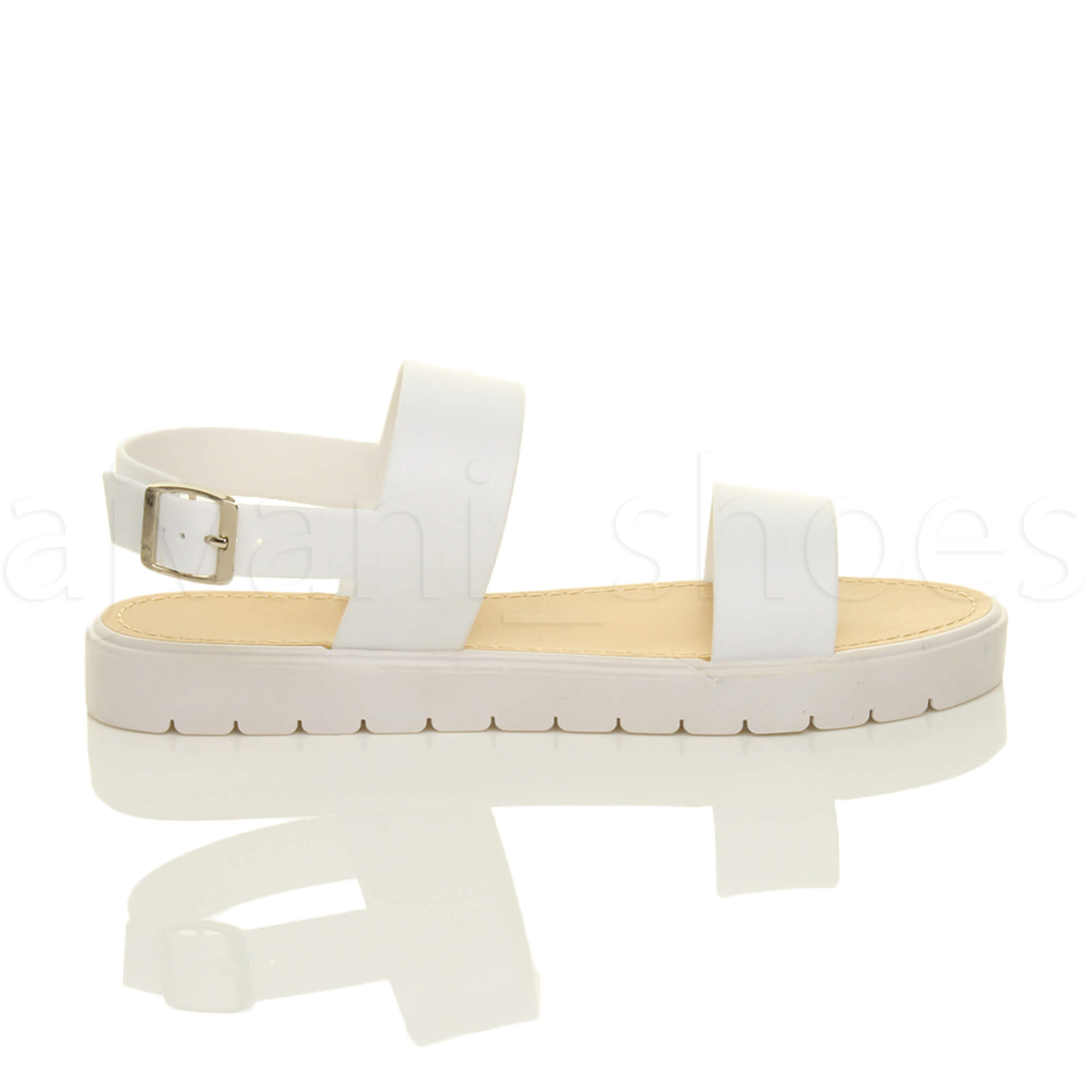 WOMENS-LADIES-FLAT-STRAPPY-BUCKLE-SLINGBACK-CLEATED-RUBBER-SUMMER-SANDALS-SIZE thumbnail 10