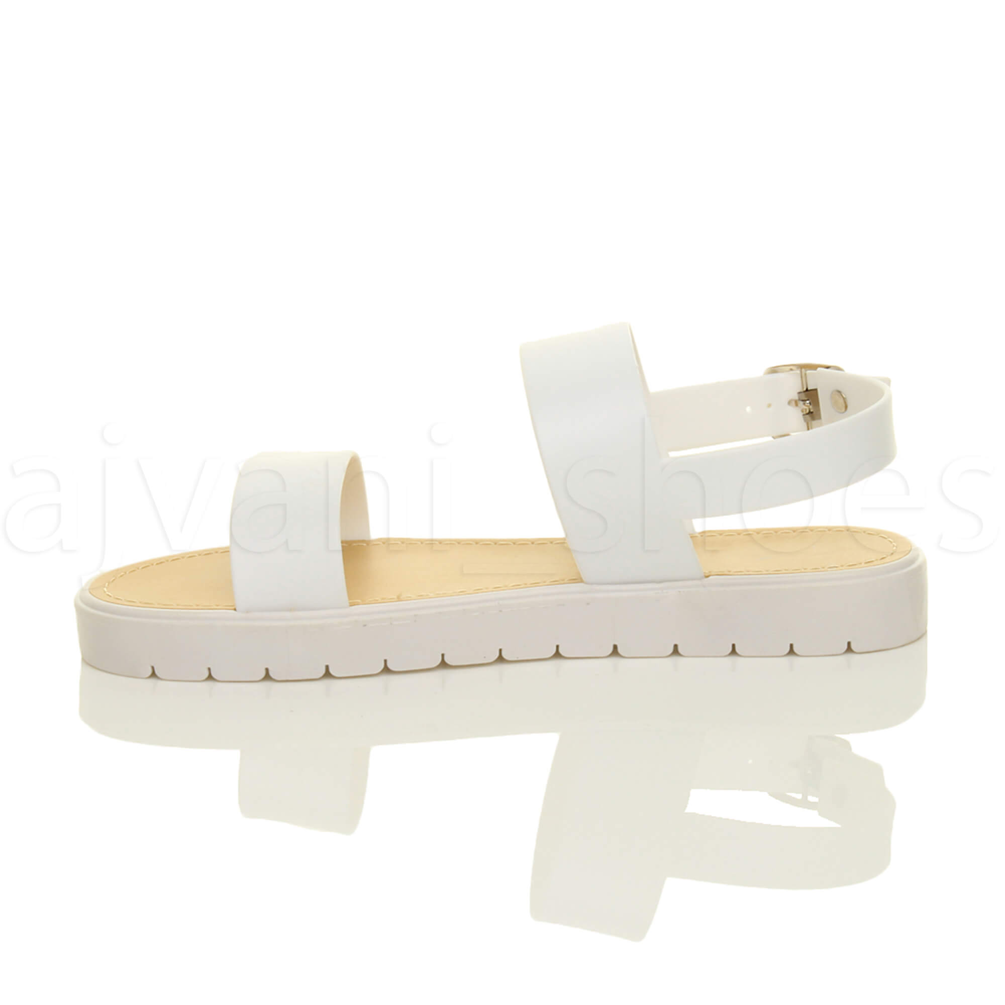 WOMENS-LADIES-FLAT-STRAPPY-BUCKLE-SLINGBACK-CLEATED-RUBBER-SUMMER-SANDALS-SIZE thumbnail 11