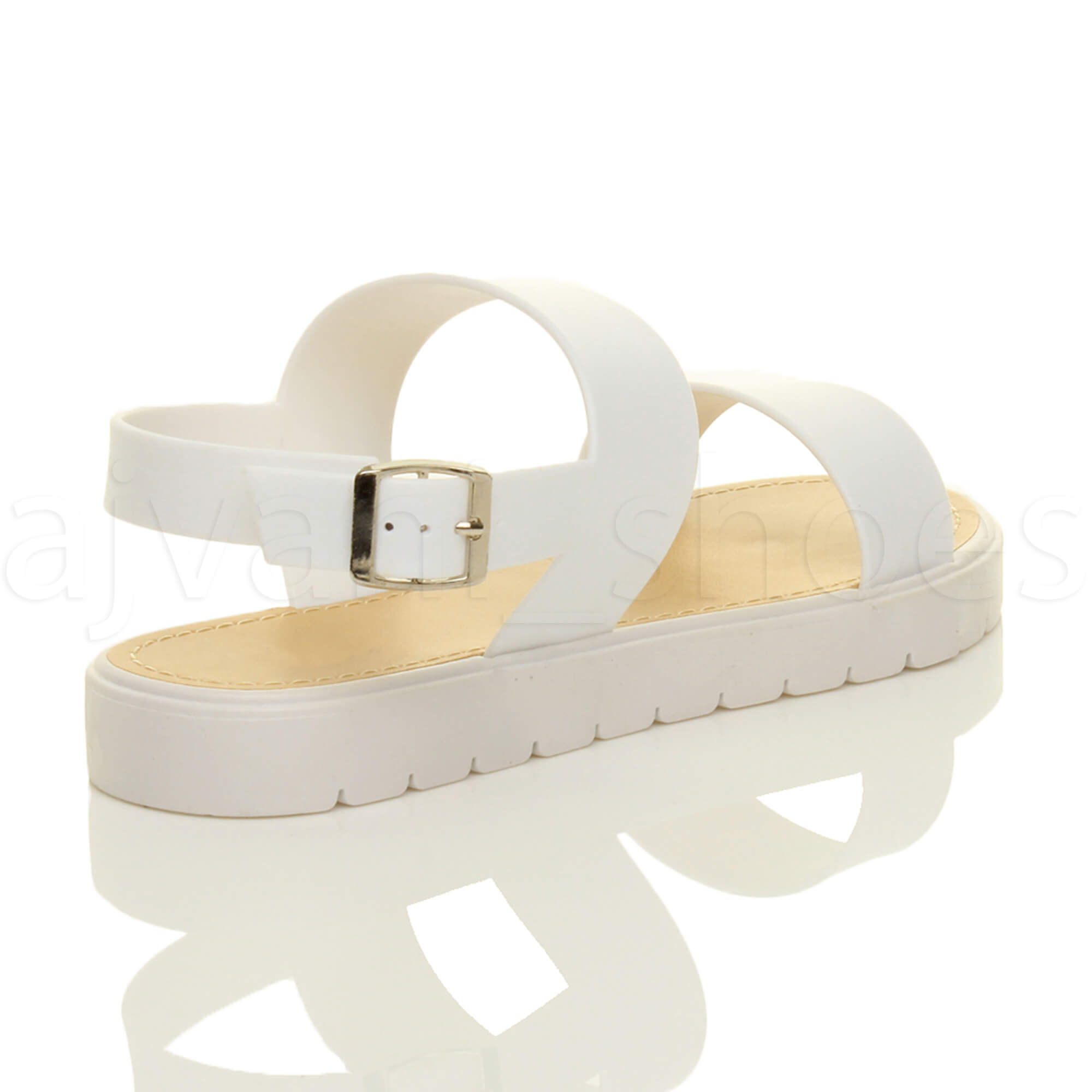 WOMENS-LADIES-FLAT-STRAPPY-BUCKLE-SLINGBACK-CLEATED-RUBBER-SUMMER-SANDALS-SIZE thumbnail 12
