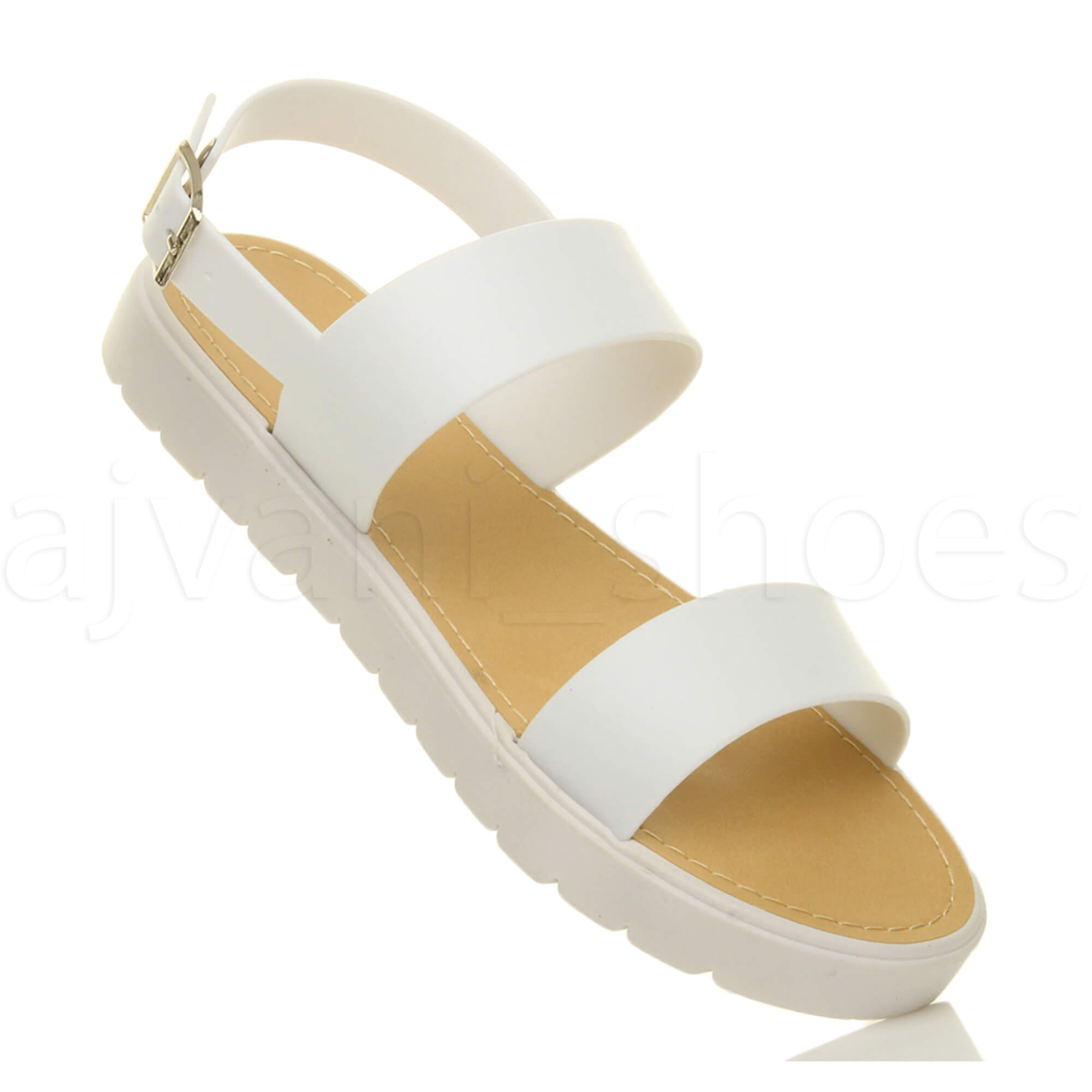 WOMENS-LADIES-FLAT-STRAPPY-BUCKLE-SLINGBACK-CLEATED-RUBBER-SUMMER-SANDALS-SIZE thumbnail 14