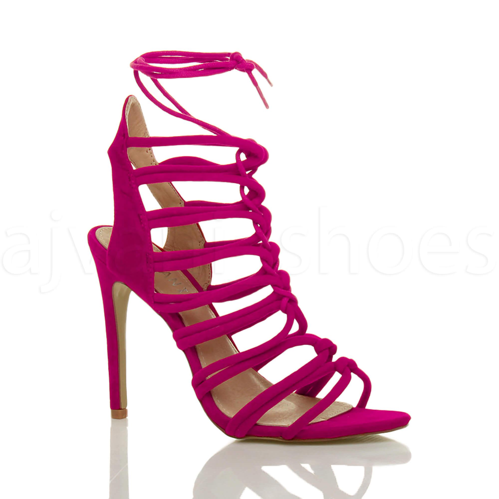 Damen Hoch Absatz Reimchen Ausgeschnitten Schnür-Pumps Sandalen Schuhe Größe 3 36 OX6GKwILM