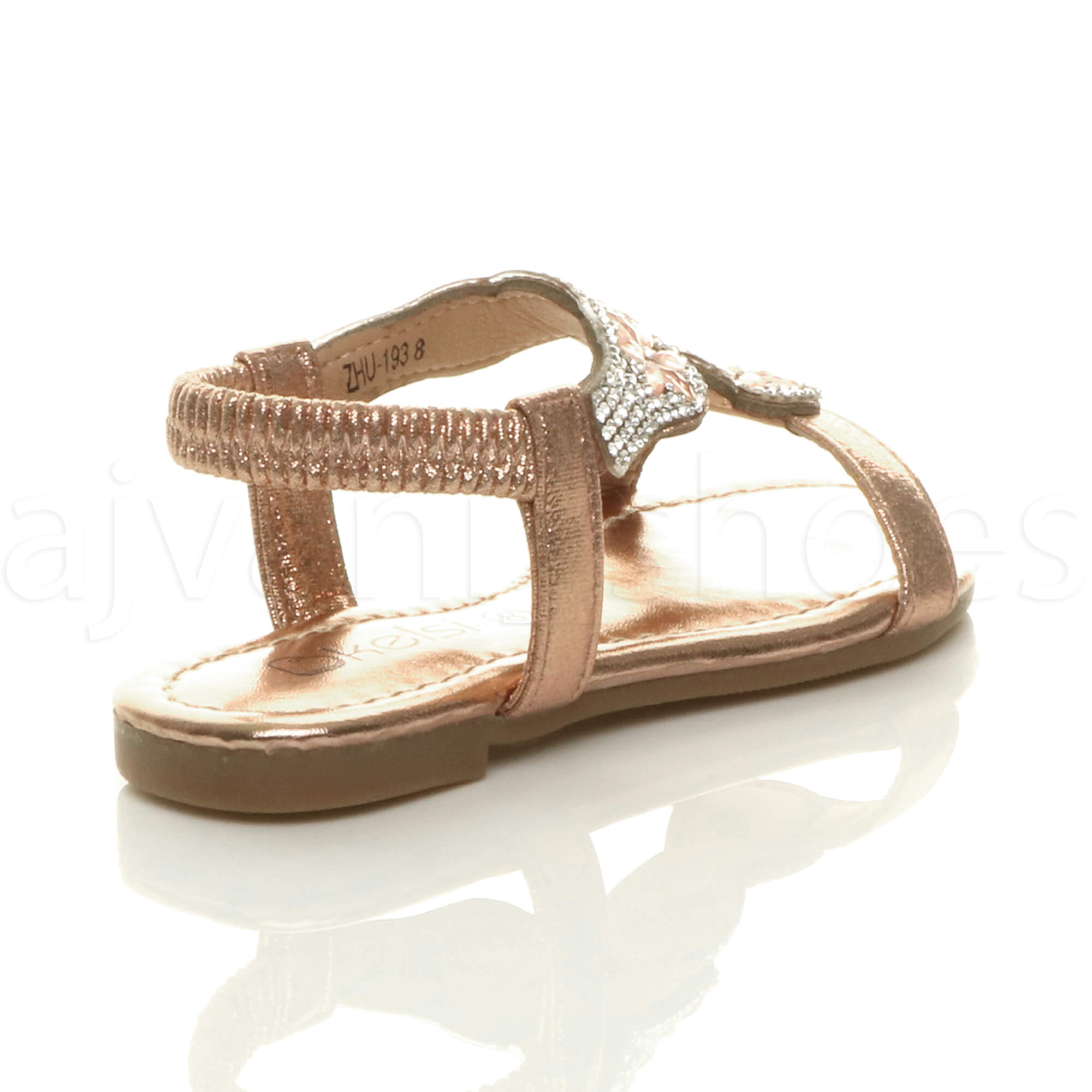 GIRLS-KIDS-CHILDRENS-FLAT-DIAMANTE-FLOWER-T-BAR-STRETCH-SLINGBACK-SANDALS-SIZE