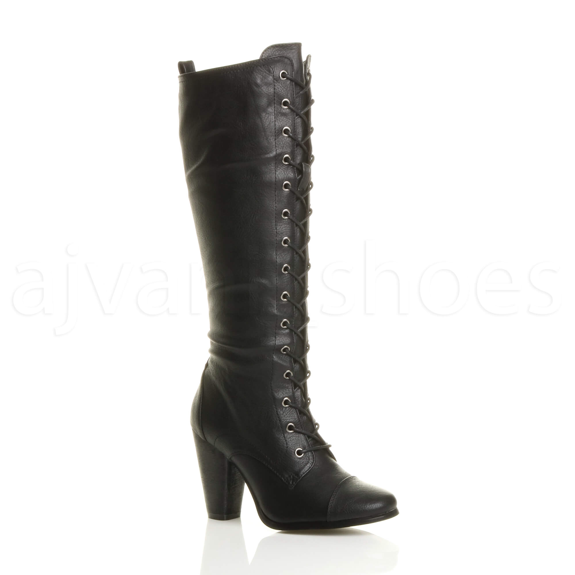 WOMENS-LADIES-HIGH-CHUNKY-HEEL-LACE-UP-CALF-KNEE-MILITARY-BIKER-BOOTS-SIZE
