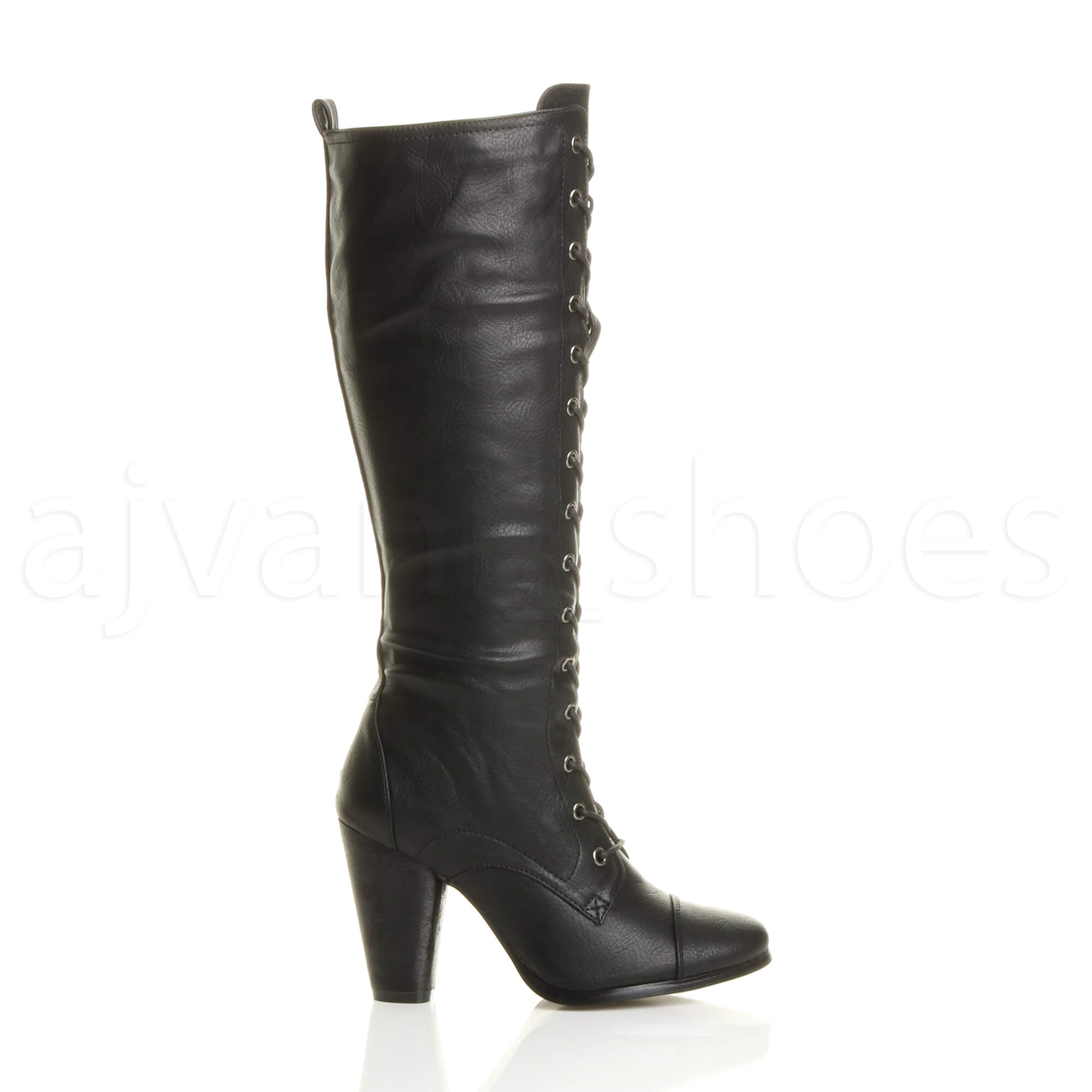 Womens Black Knee High Biker Boots