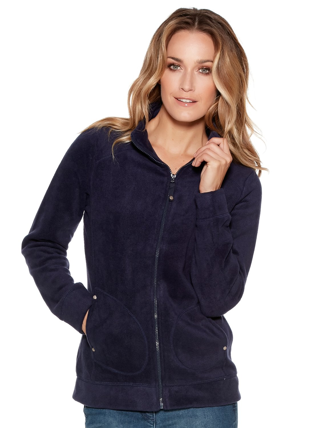 Women's Ladies Long Sleeve Funnel Neck Soft Fleece Zip Up Jacket With Pockets