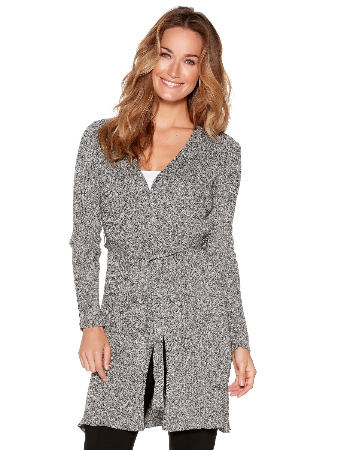 Womens Ladies long sleeve ribbed knit slim fit button detail longline tie front cardigan