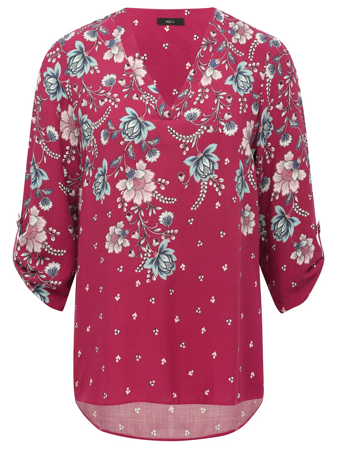 women's ladies tabbed three quarter length sleeves v neck floral print top
