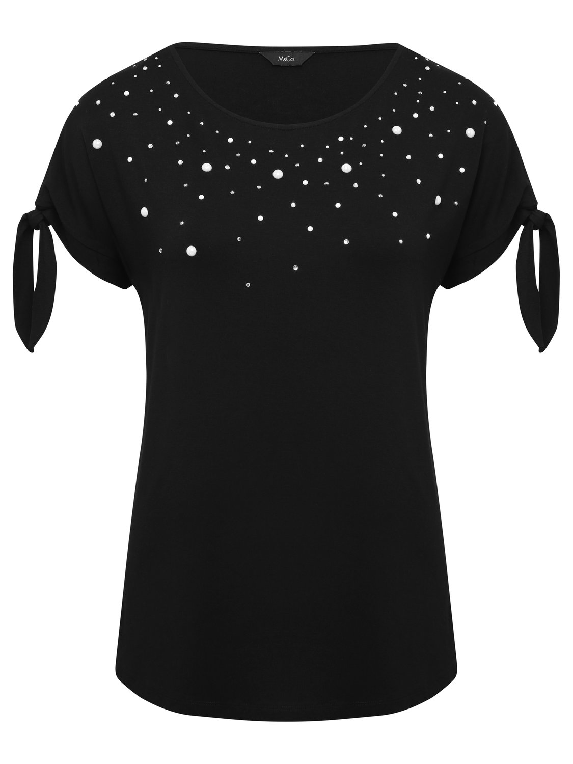women's ladies short sleeve plain diamante pearl embellished tie sleeve peasant top