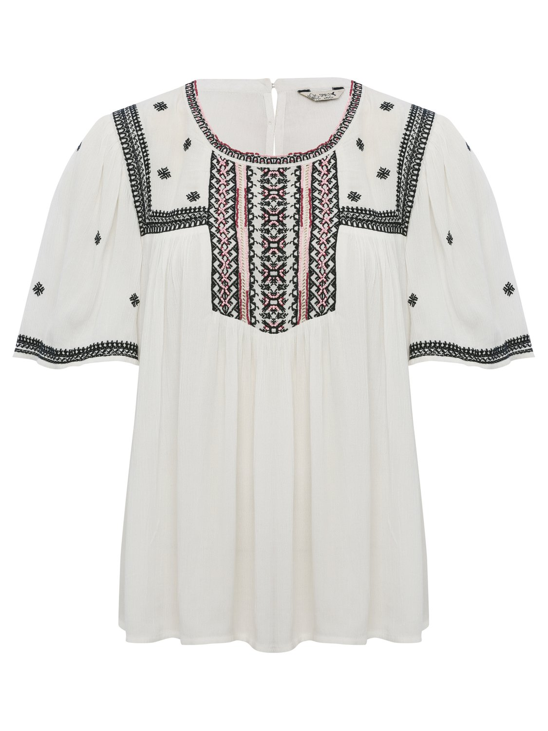women's ladies short sleeve scoop neck bead embellished tribal embroidered top