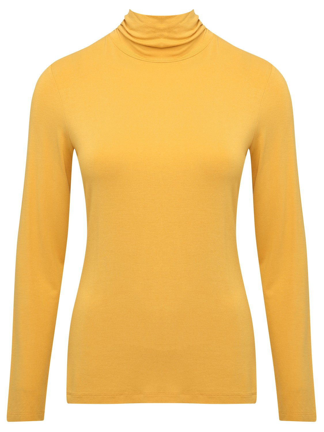 women's ladies stretch jersey long sleeve roll neck top