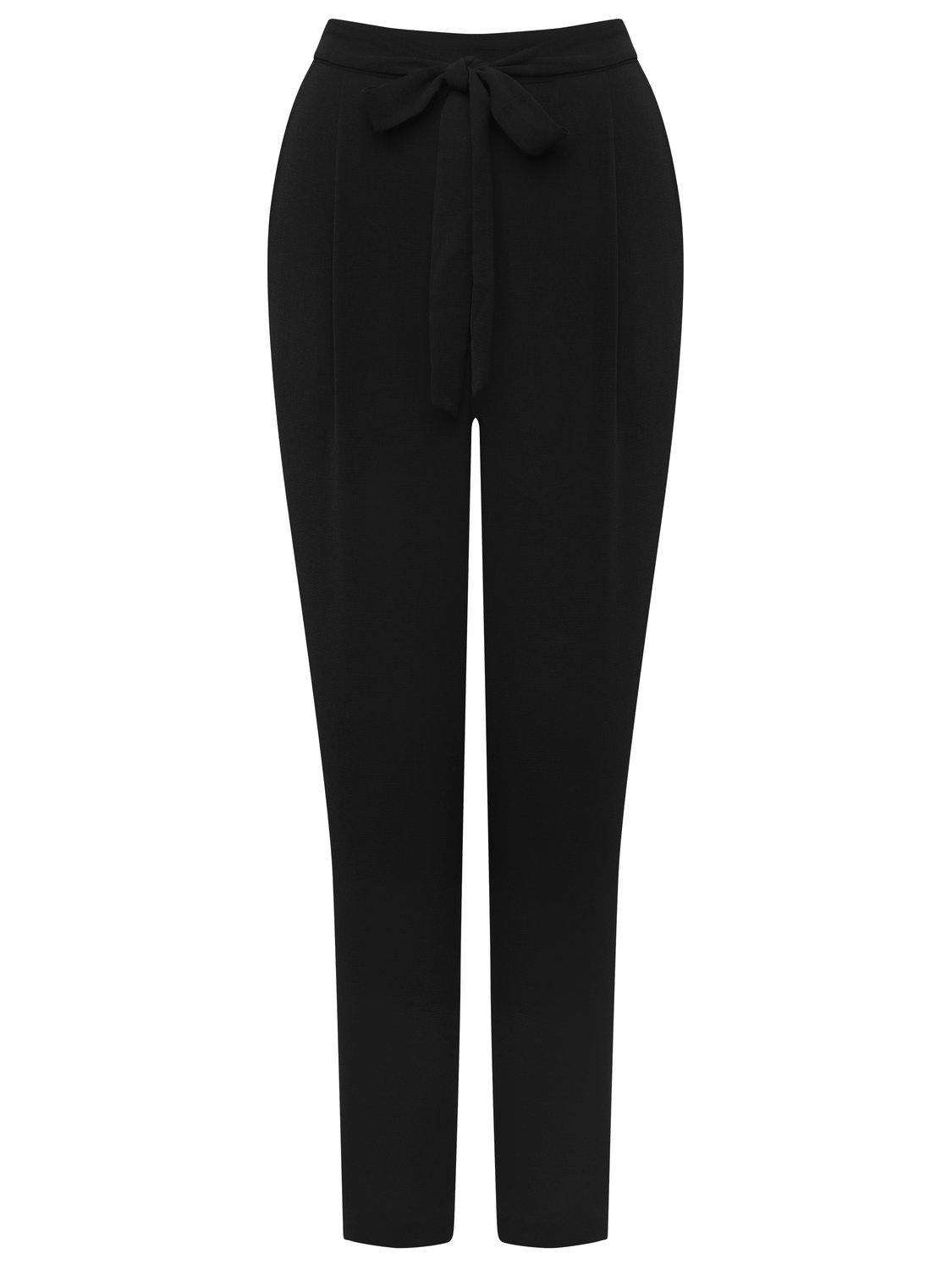 women's ladies plain stretch waist side pocket tie front crepe relaxed fit tapered trousers