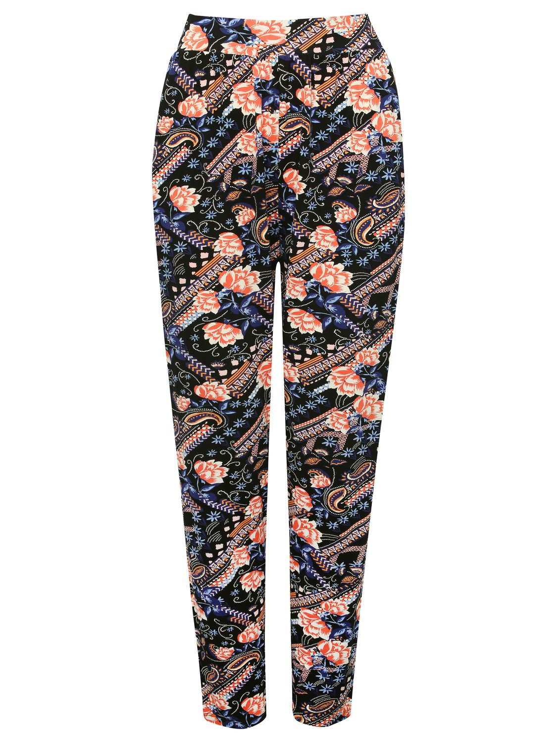 women's ladies floral harem trousers high waist tapered leg pull on