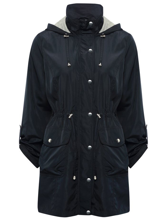 Womens Ladies navy lightweight jersey lined hooded parka jacket