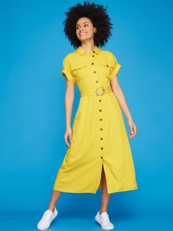 70s Dresses – Disco Dress, Hippie Dress, Wrap Dress Khost Clothing ladies midi shirt dress  - Yellow £16.00 AT vintagedancer.com