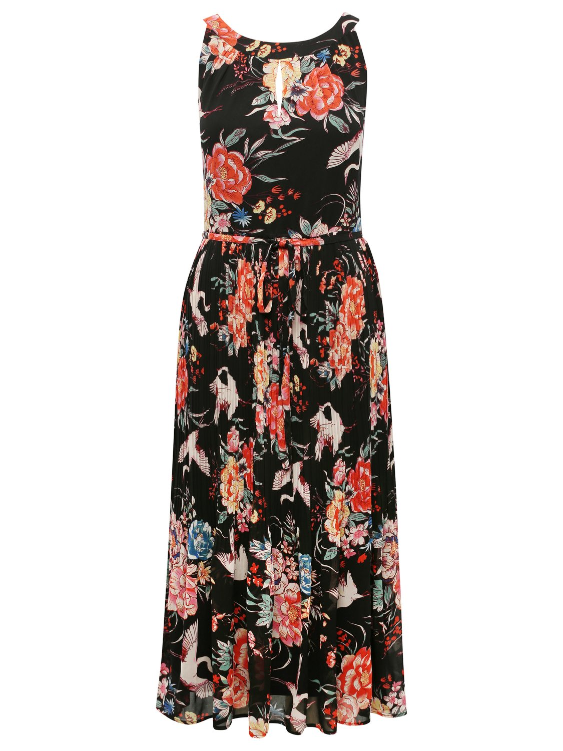 Women's Ladies boutique sleeveless bird print tie front fit and flare keyhole pleated skirt dress