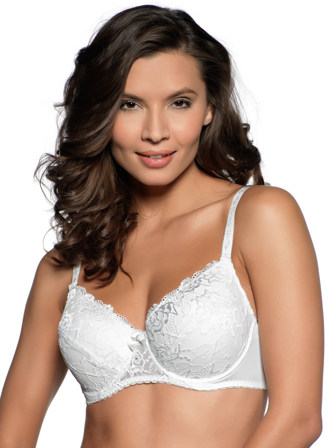 Ladies underwired padded cup lace black hook and eye everyday bra   White
