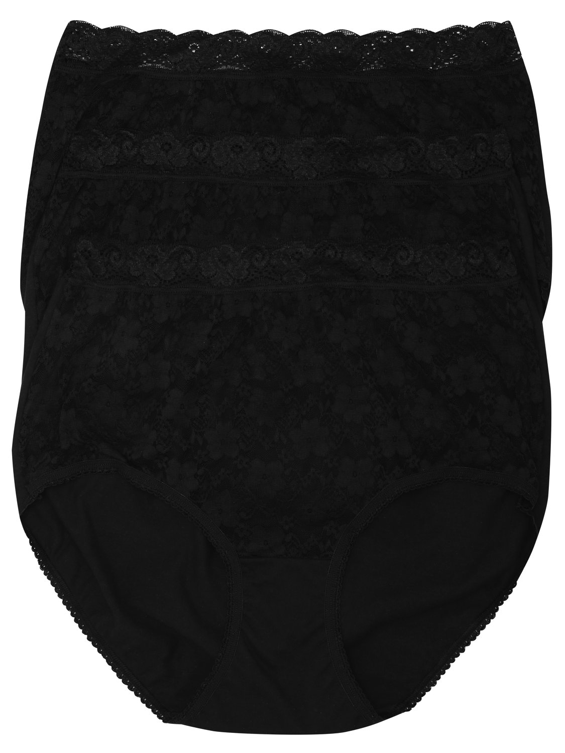 ladies plain classic cotton rich lace trim everyday full brief - 3 pack multipack  - black