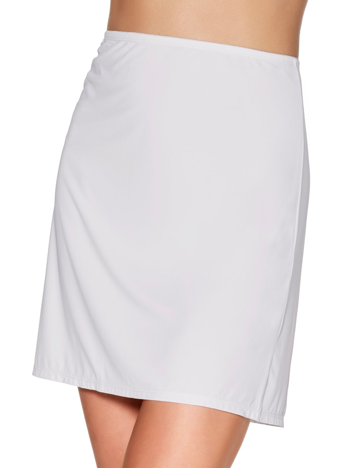 ladies shapewear plain stretch microfibre no vpl smoothing half slip skirt  - ivory
