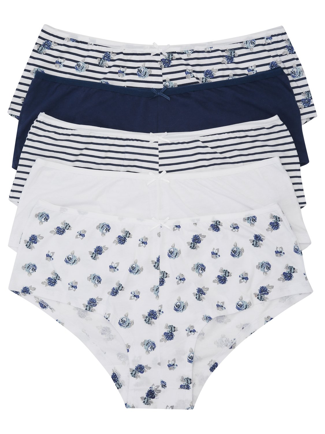 ladies boxer briefs multipack floral and stripe print boxer briefs multipack  - petrol blue