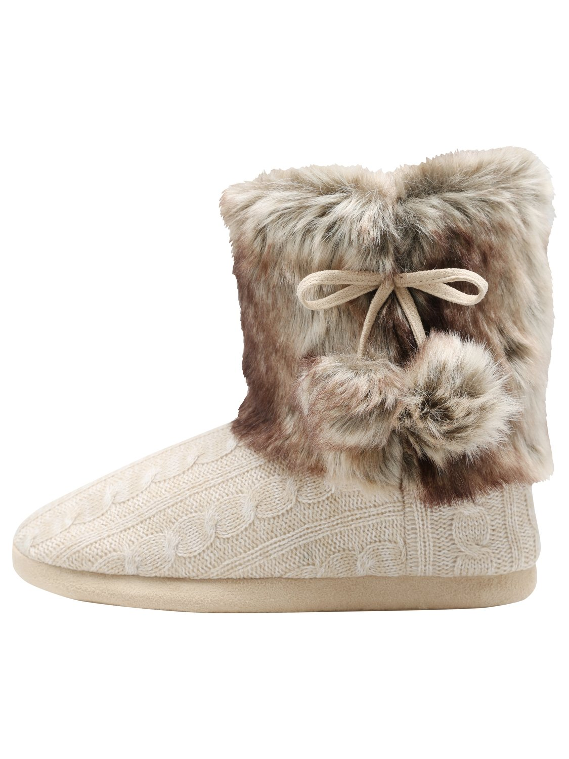Ladies non slip grip Cable knit faux fur ankle slipper boots with pom pom details   Oatmeal
