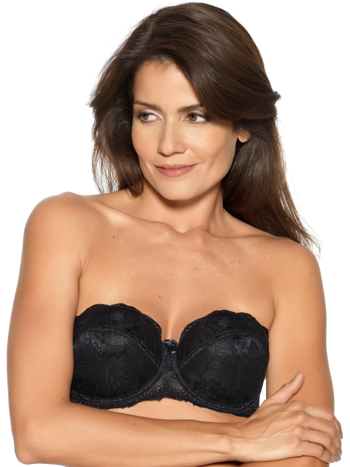 Ladies Underwired Padded Full Support Anti Slip Lace Multiway Bra  - Black