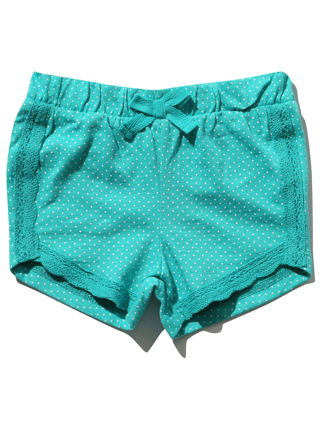Baby girls turquoise bow front spot print lace trim pull on cotton shorts  - Turquoise