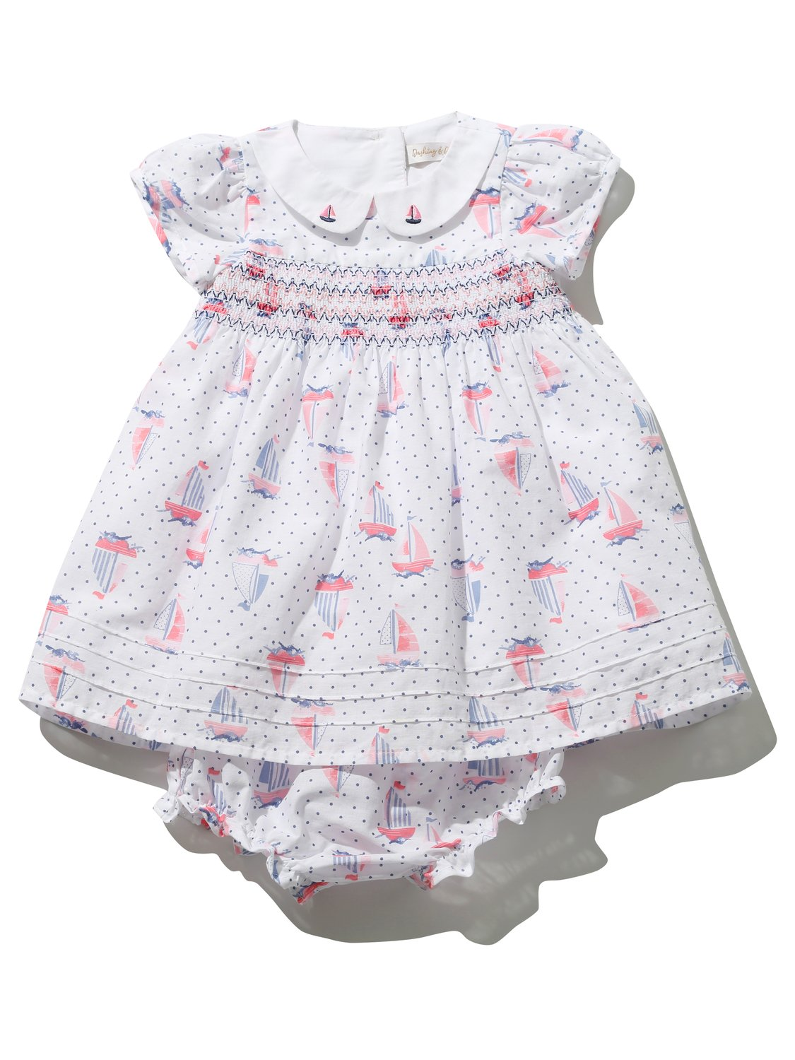 Baby girl cotton rich white sailboat print short sleeve smock dress and frilly knickers outfit set  - White