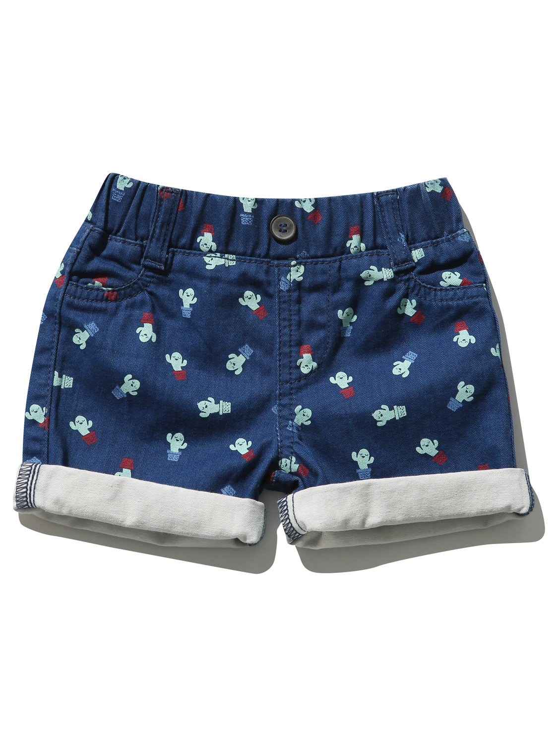 Baby Clothes Kids Baby Boy cactus print denim shorts with turn up hems  - Blue