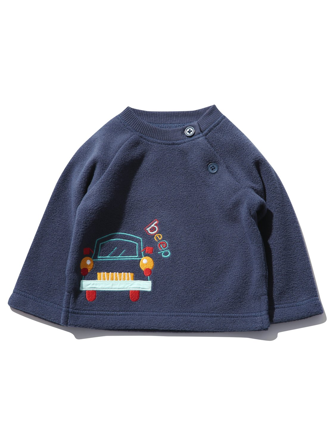 Baby Clothes Kids Baby boy car embroidered fleece jumper with long sleeves - Navy