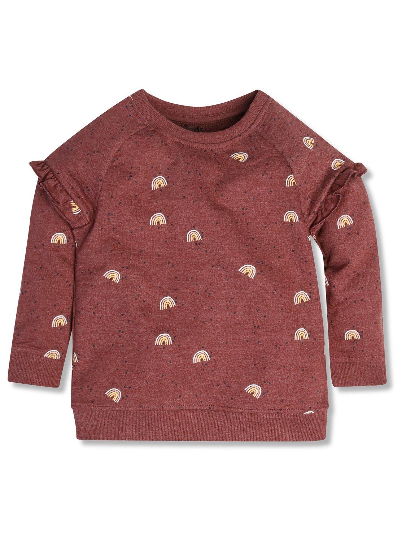 Rainbow Frill Sleeve Sweatshirt (9mths-5yrs)  - Brick Red