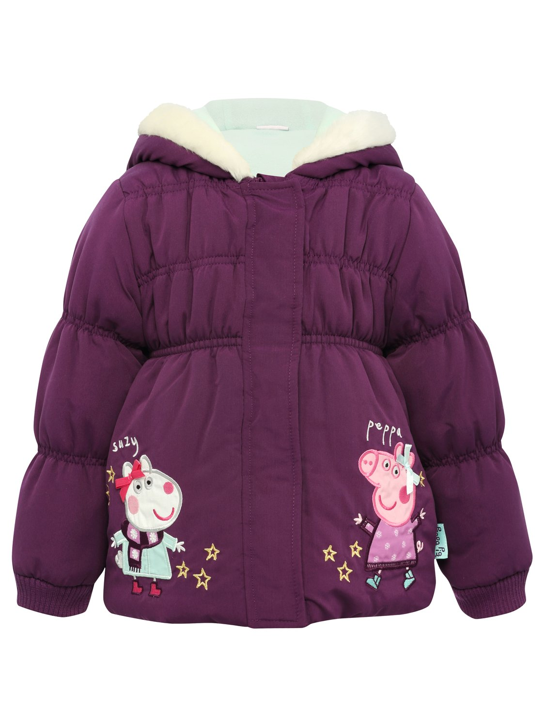 Peppa Pig and Suzi Character Embroidered Girls Long Sleeve Fleece Lined Hooded Padded Coat   Purple