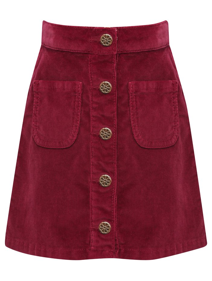 Girls rich berry pink button front aline cord winter skirt   Berry Red