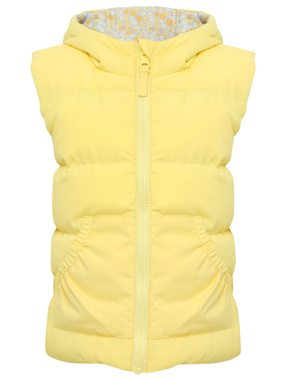 Girls sleeveless bright yellow reversible floral print padded hooded zip up gilet jacket   Yellow
