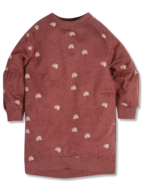 Rainbow Sweat Dress (3-12yrs)  - Brick Red