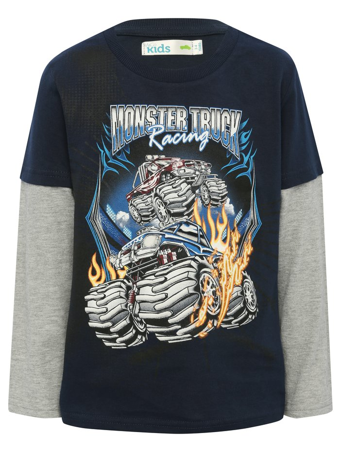 boys navy blue pull-on soft cotton rich monster truck print t-shirt and toy set - Navy