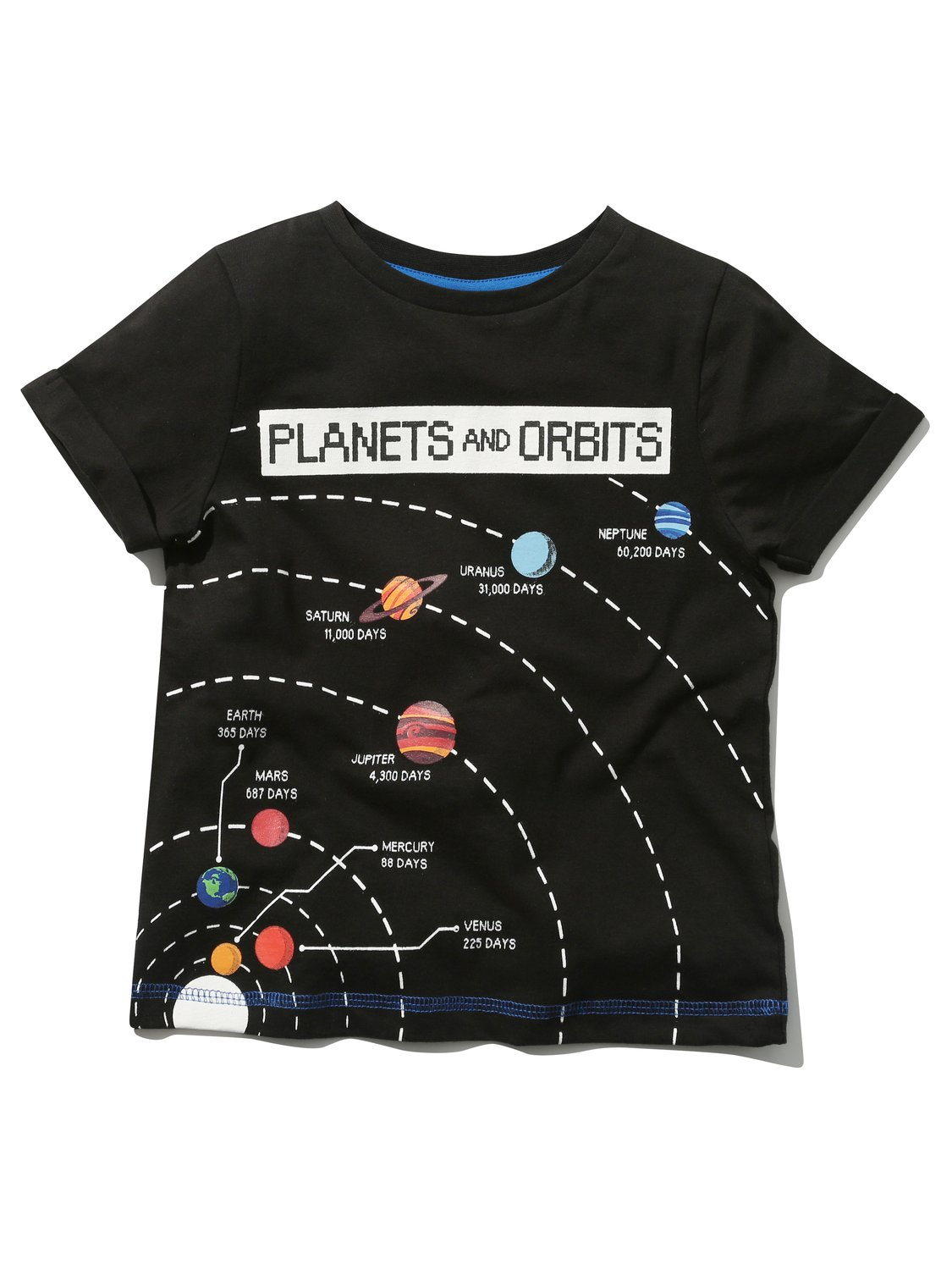 Science Museum kids black 100% cotton short sleeve crew neck planets & orbits fact print t-shirt - Black