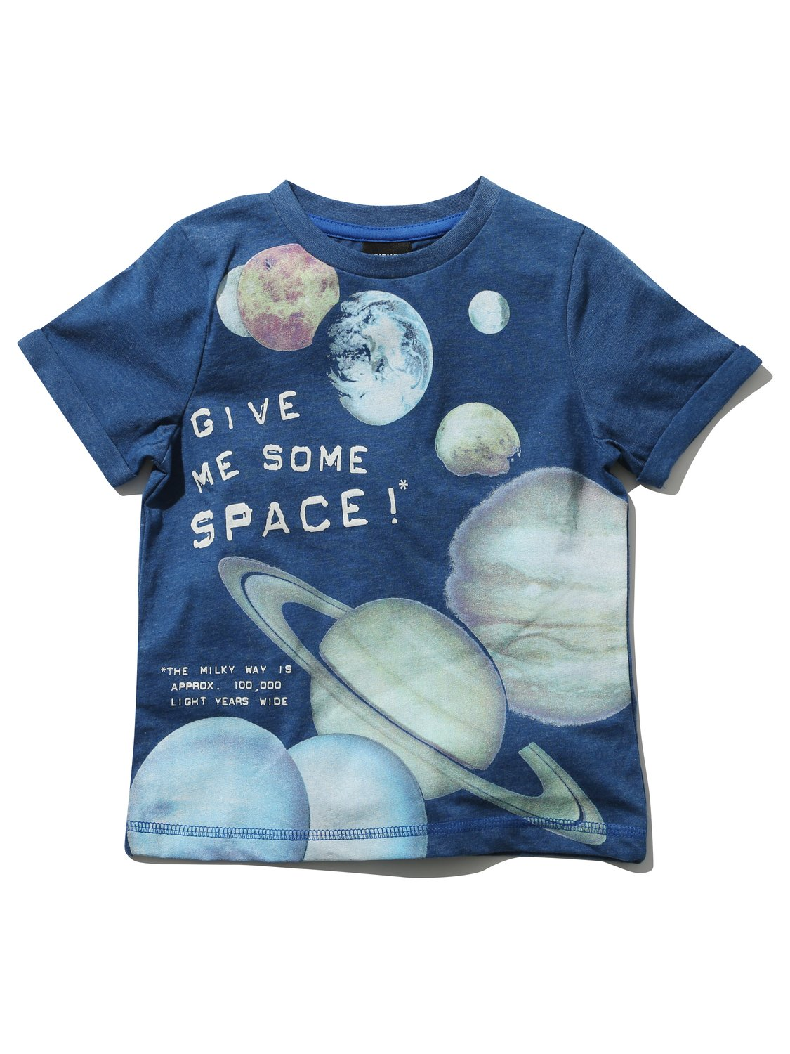 Science Museum kids short sleeve crew neck glow in the dark planet slogan print t-shirt - Navy