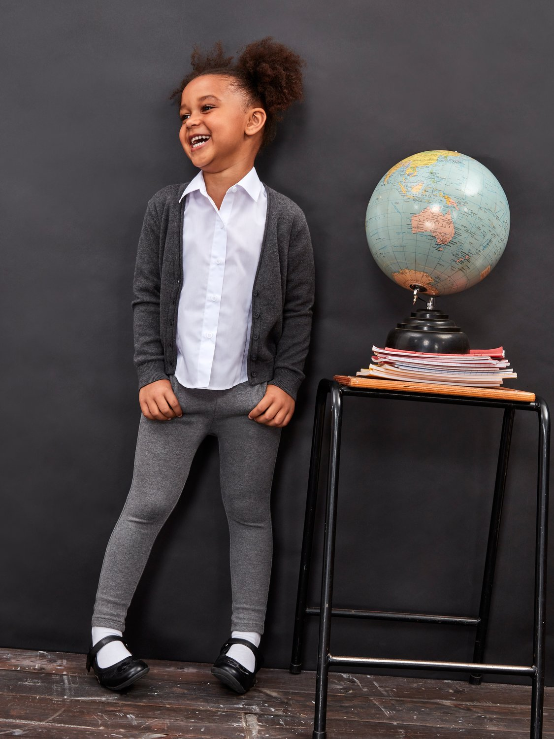 M&Co Girls Slim Fit Trousers - Stretch Slim Leg Trouser for School Uniform - Toddlers and Children Age - Grey