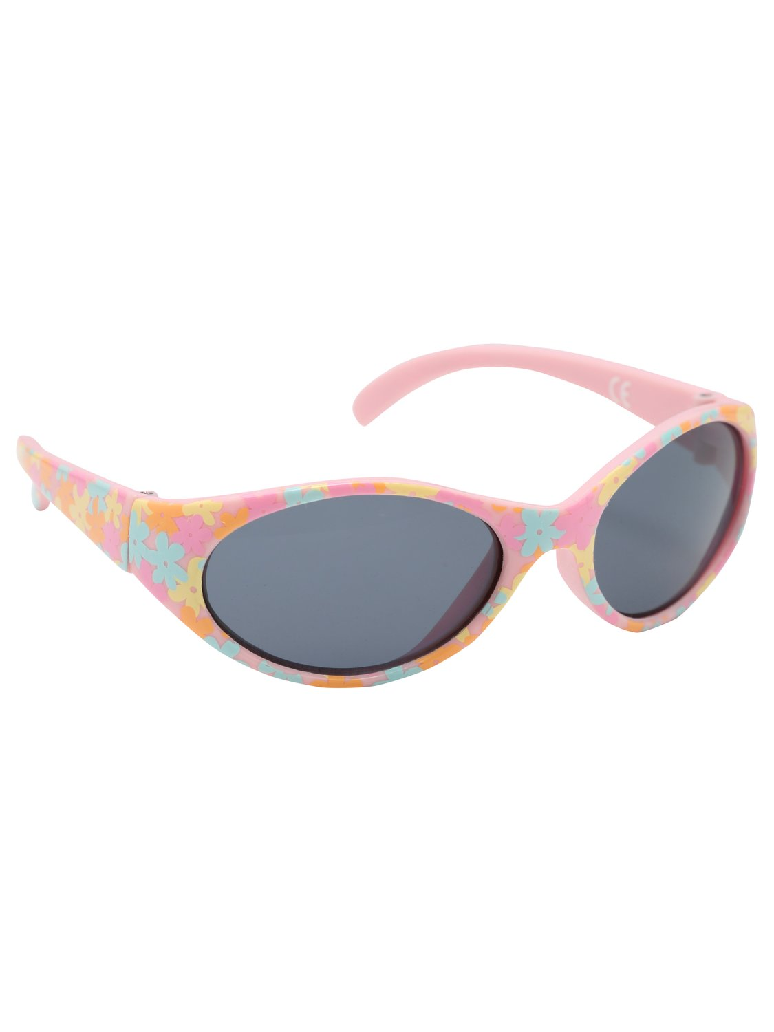 Baby girls multi colour floral printed frame tinted lense holiday sunglasses  - Pink