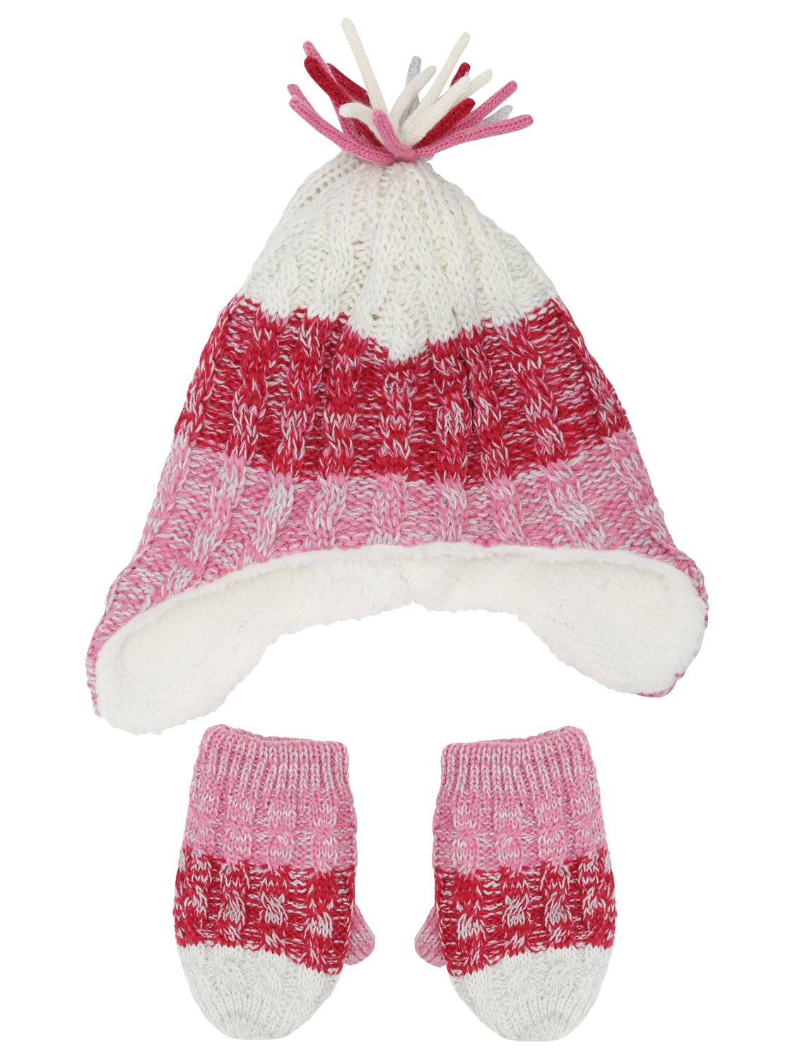 Baby girls cosy stripe cable knit mittens and trapper hat winter set   Pink